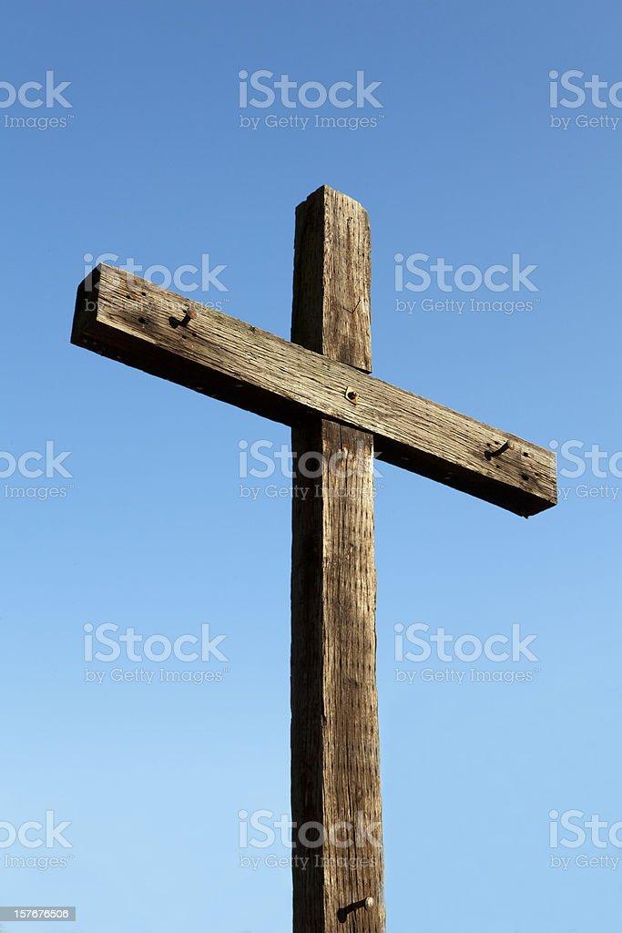 Morning Glory. Christian Cross Made of Wood. Crucifix stock photo