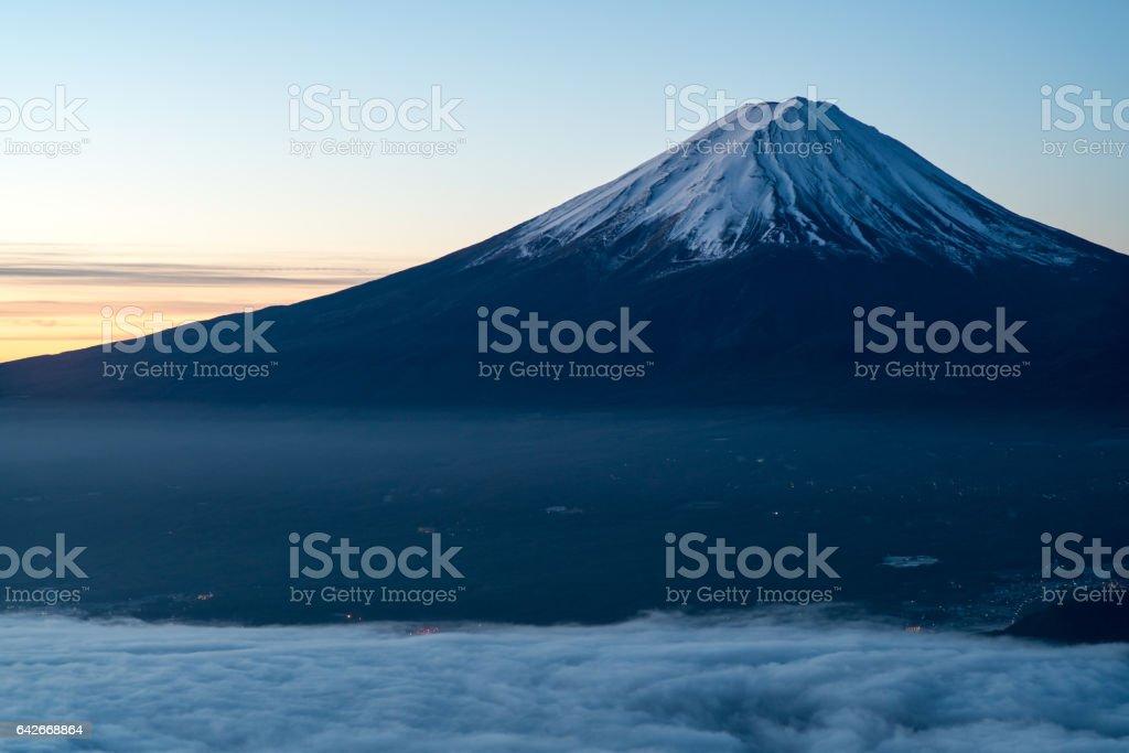 Morning glory Mt.Fuji and sea of clous ,Yamanashi,Japan stock photo