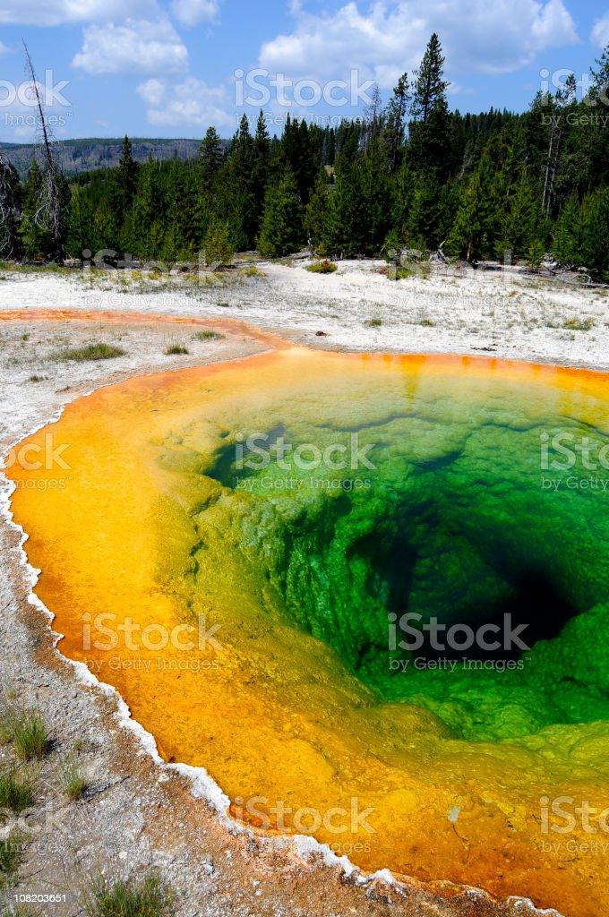 Morning Glory Pool, steam on surface royalty-free stock photo