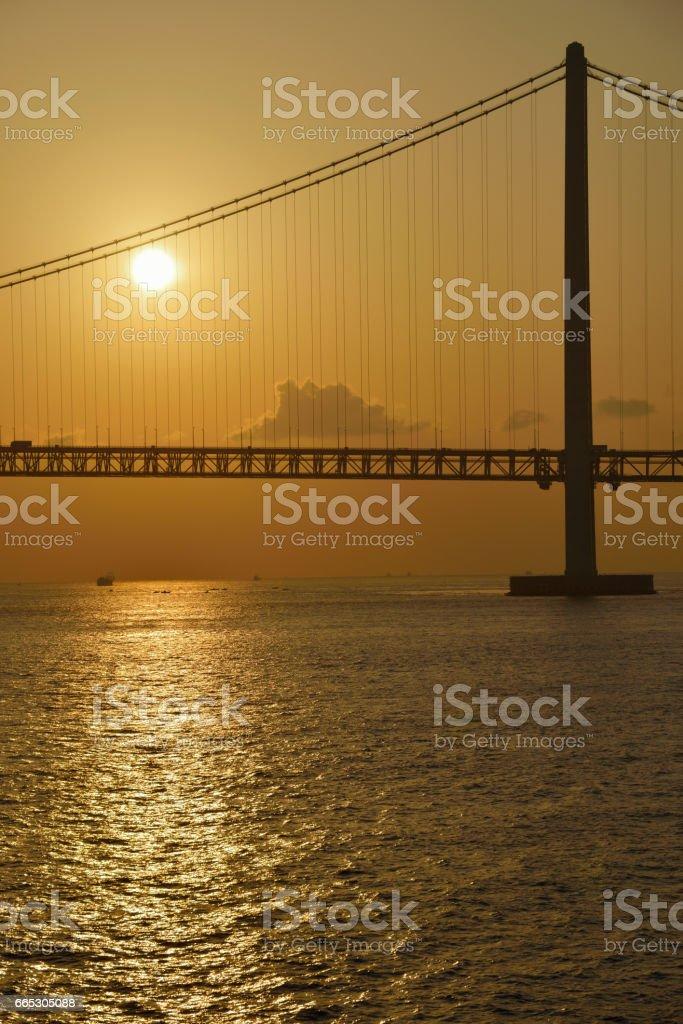Morning glow in the Seto Inland Sea stock photo