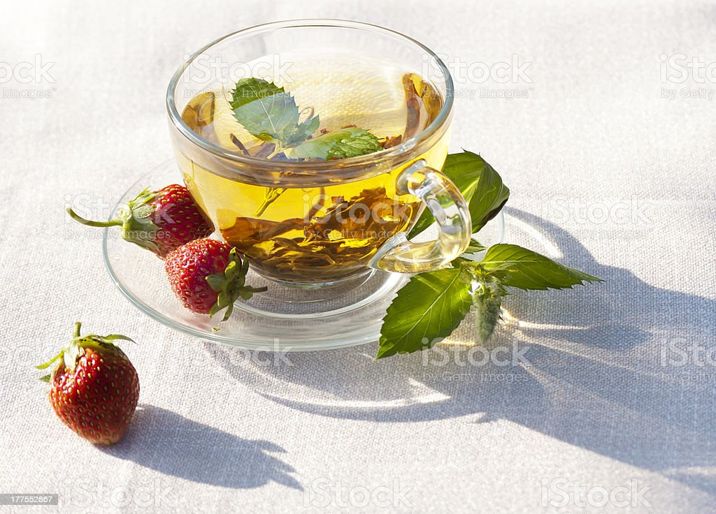 morning green mint tea with strawberry royalty-free stock photo