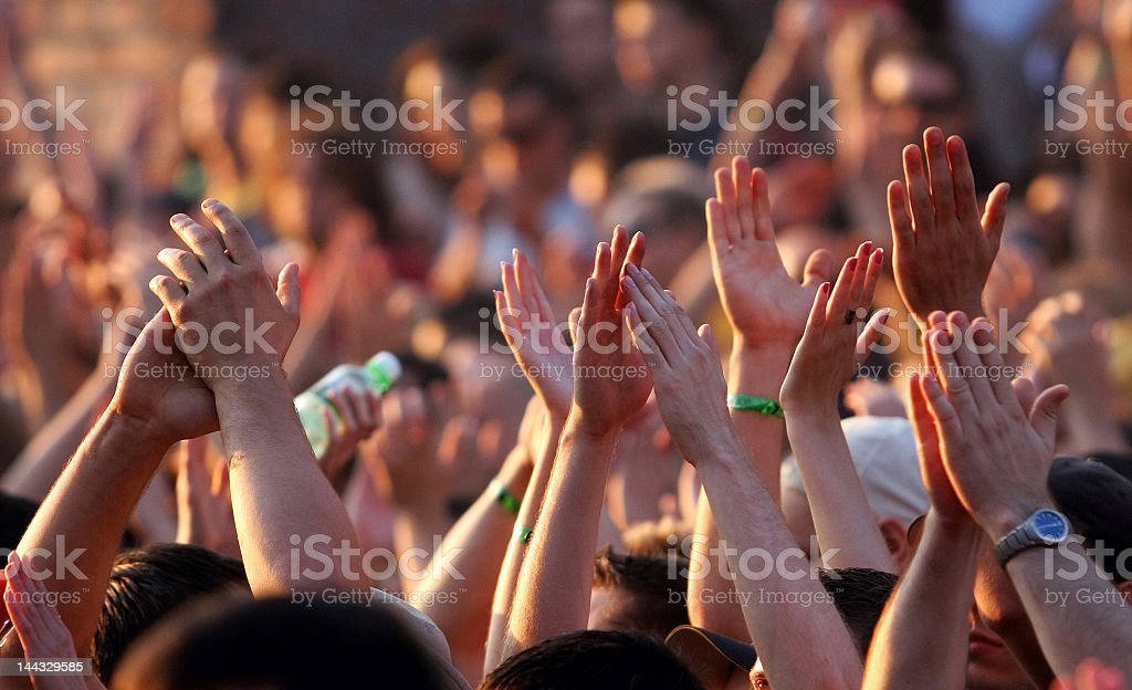 Morning hands in the air royalty-free stock photo
