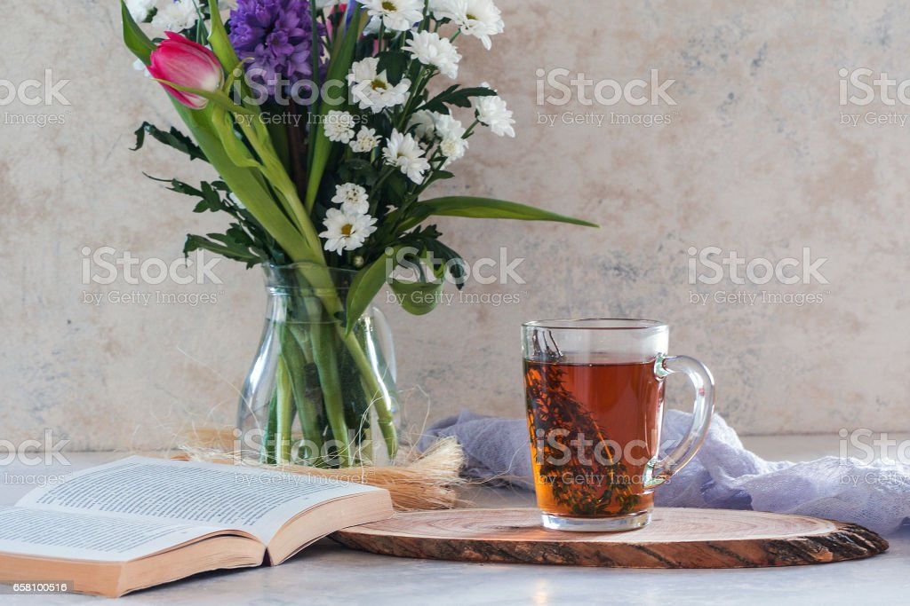 Morning herbal tea with thyme and croissant stock photo