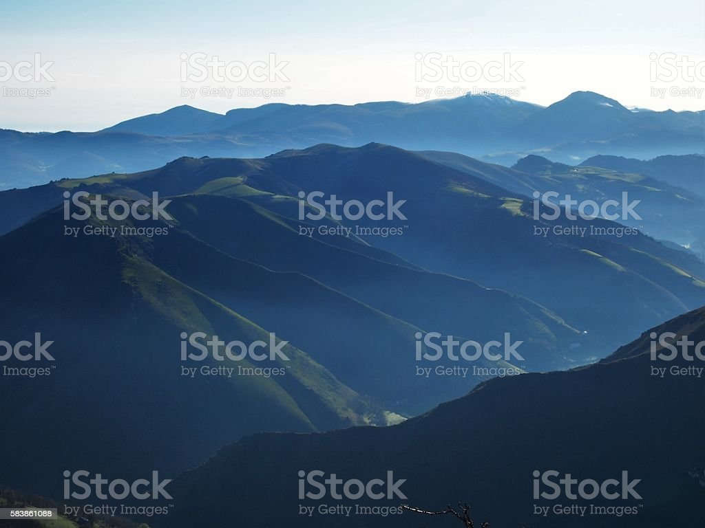 Morning Hike through the Pyrenees stock photo