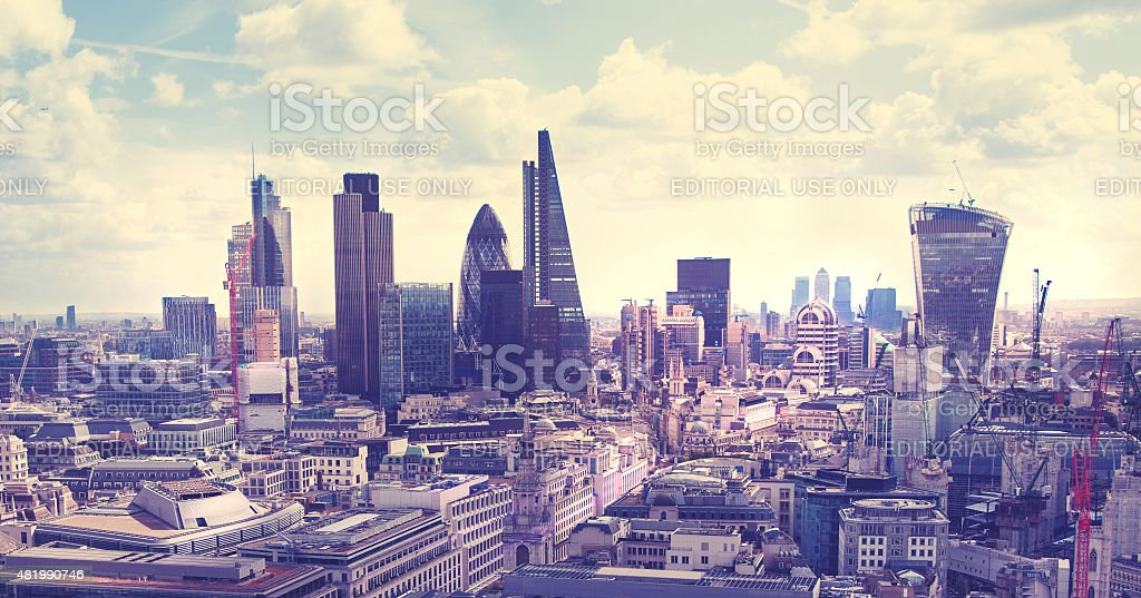 Morning hours in London, view from the 32 floor stock photo