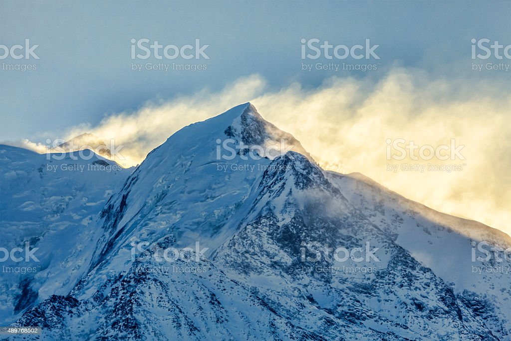 Morning Hours on Mont Blanc stock photo