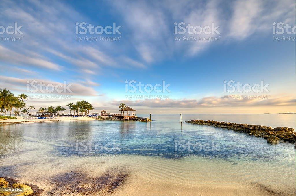 Morning in a Bahamas Beach stock photo