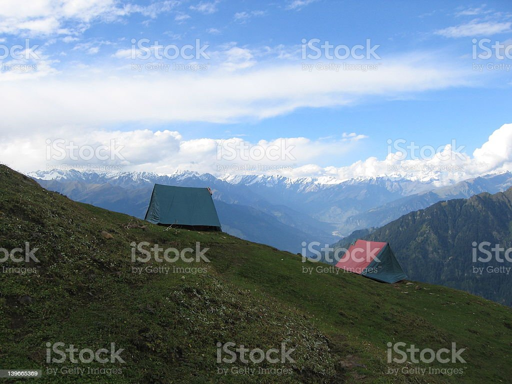 Morning in a camp site, Indian Himalayas royalty-free stock photo