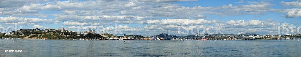 Morning in a seaport. Vladivostok. Panorama. royalty-free stock photo