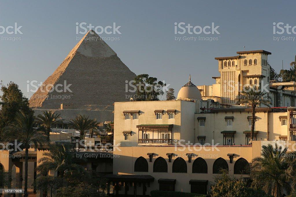 Morning in Cairo city near Egyptian Khafre Pyramid of Chephren stock photo