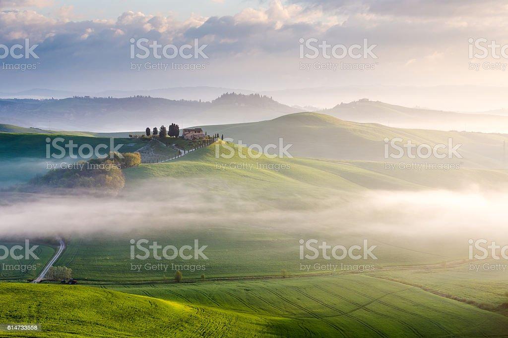 Morning in Crete Senesi, Tuscany, Italy stock photo