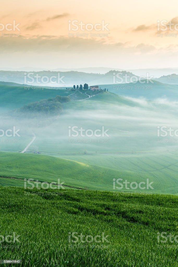 Morning in Crete Senesi, Tuscany stock photo