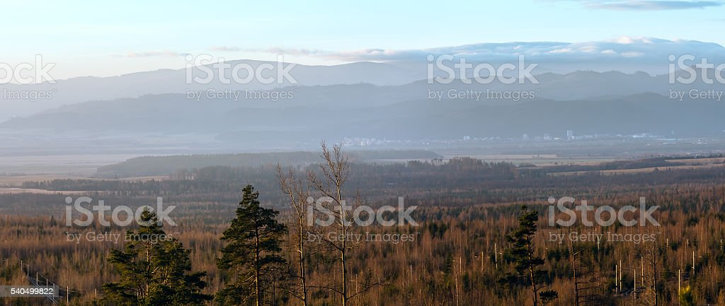 Morning in foothills. Panorama. stock photo