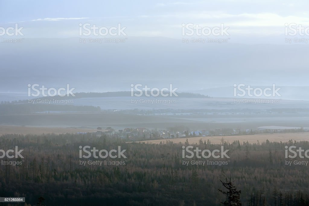 Morning in foothills. stock photo