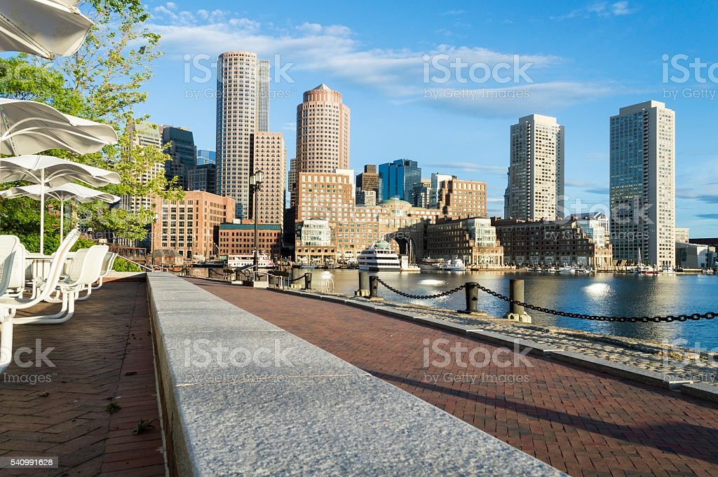 Morning in late spring Rowes Wharf stock photo