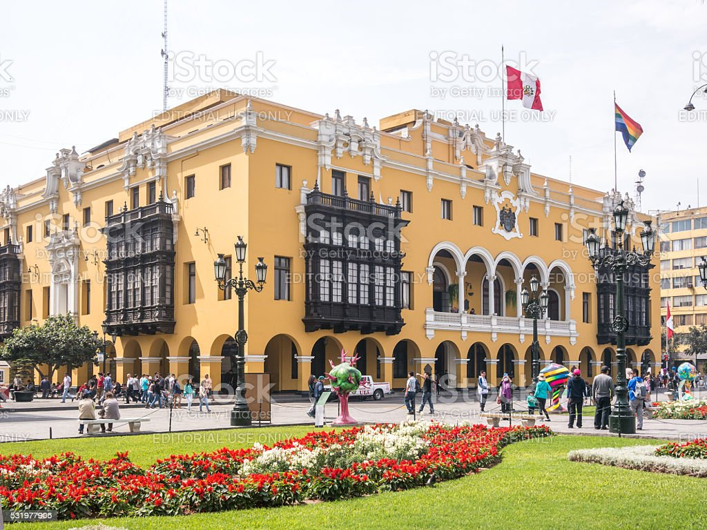Morning in Lima Main Square stock photo