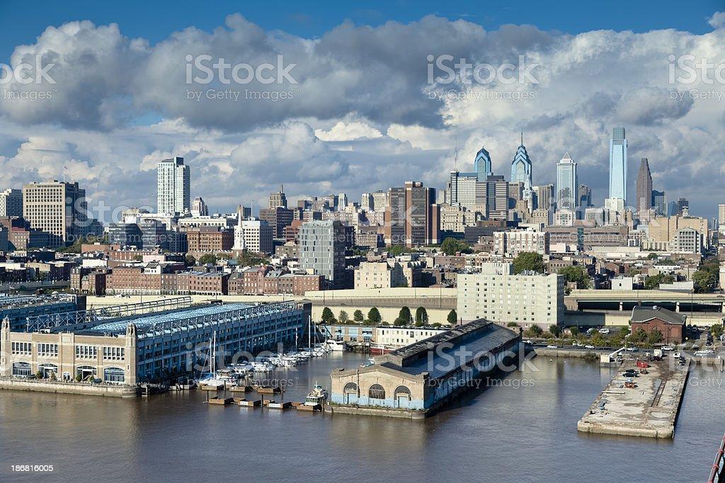 Morning in Philadelphia's Waterfront from the Benjamin Franklin Bridge stock photo