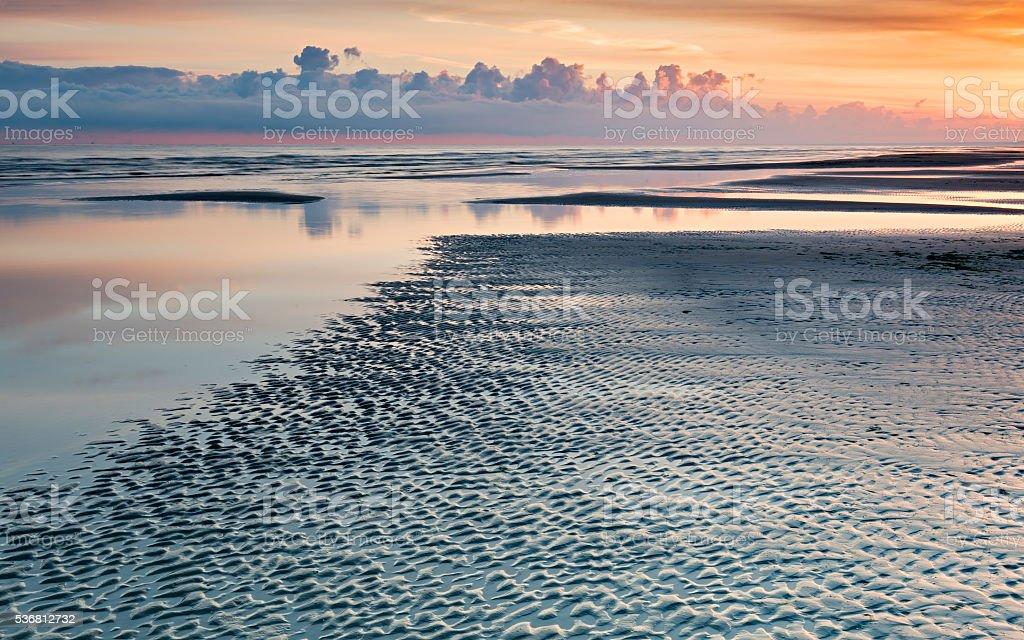 Morning in the Baltic beach, Latvia stock photo