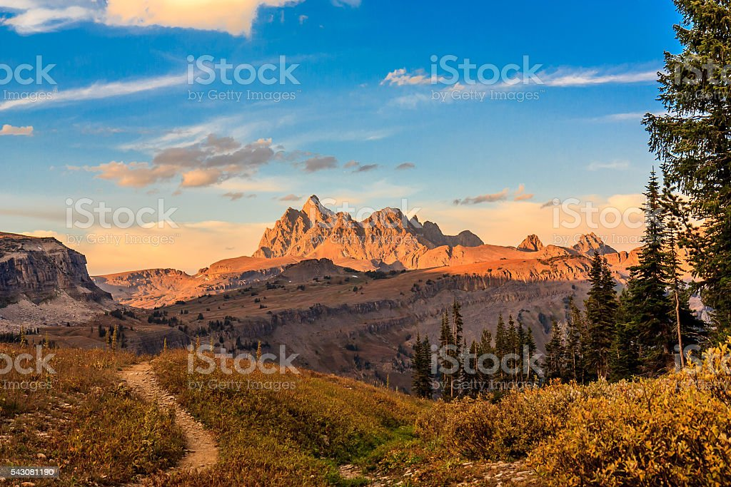 Morning in the mountains stock photo