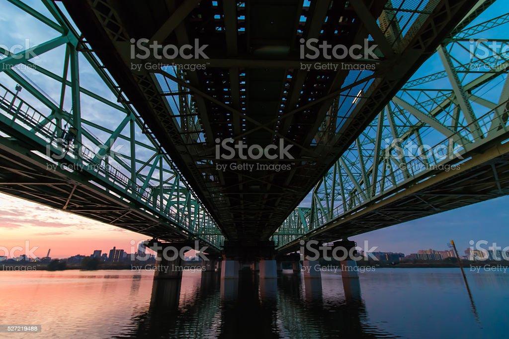 Morning iron bridge stock photo