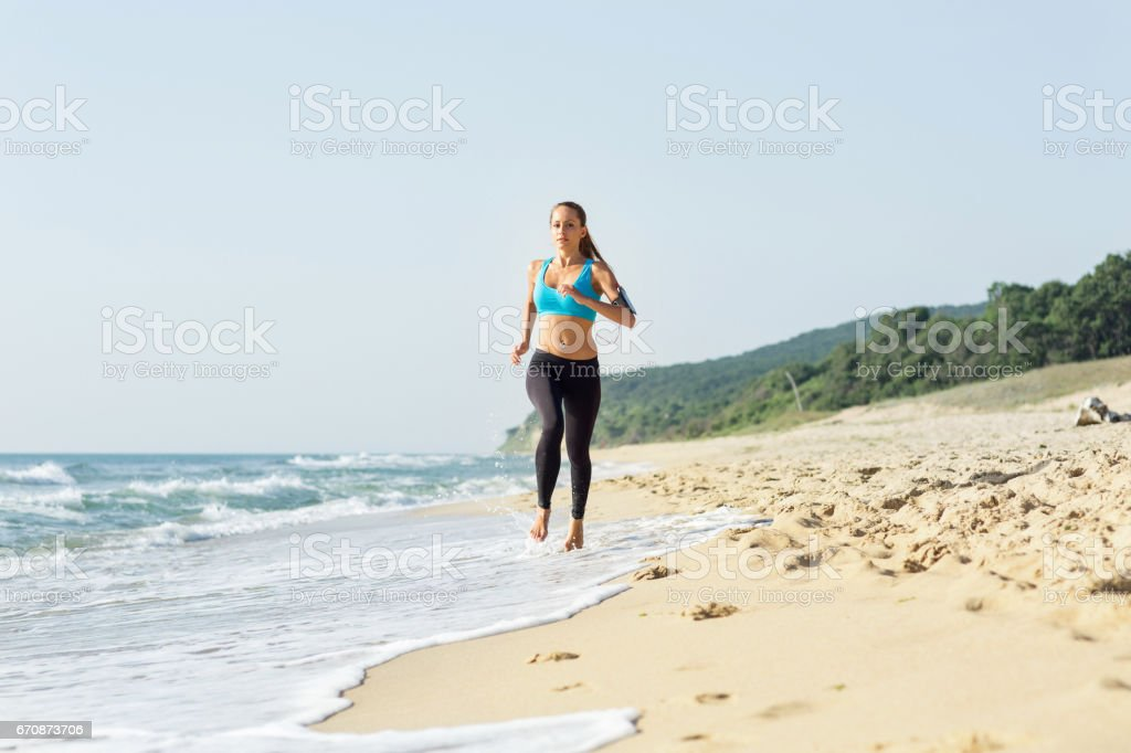 Morning jogging stock photo