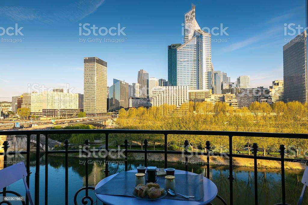 Morning La Defense business area and Seine River, Paris, France stock photo