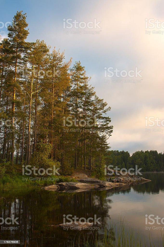 Morning lake in Norway stock photo