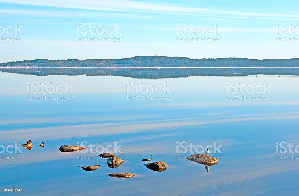 Morning Lake Onega stock photo