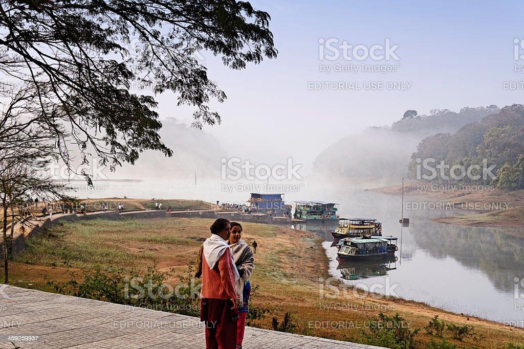 Morning landscape at Lake Periyar royalty-free stock photo