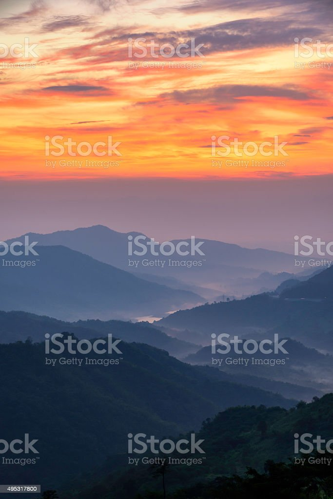 Morning landscape of mountain in Thailand royalty-free stock photo