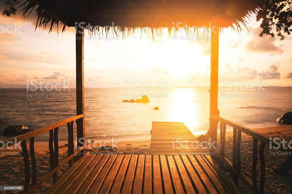 morning light at a gazebo stock photo
