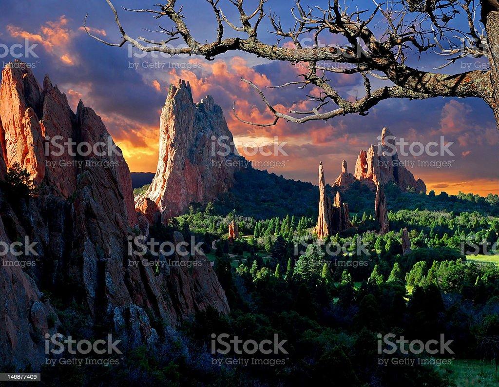Morning Light at Garden of the Gods stock photo
