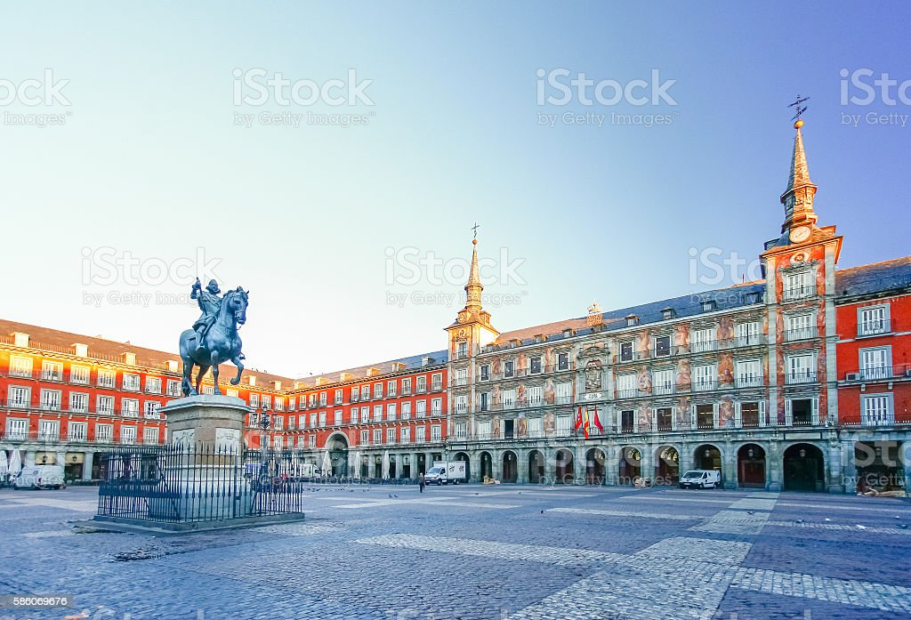 Morning Light at Plaza Mayor in Madrid , Spain stock photo