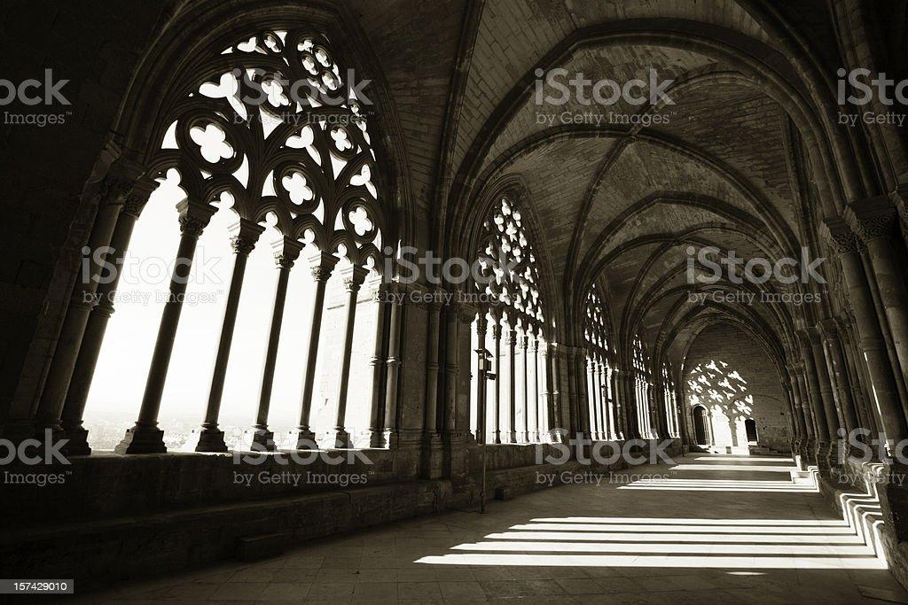 Morning light in cloister La Seu Vella, Lleida, Spain stock photo