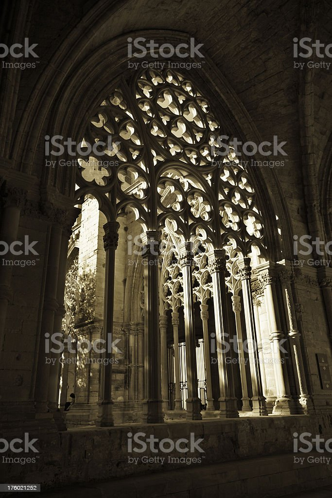 Morning light in cloister La Seu Vella, Lleida, Spain royalty-free stock photo