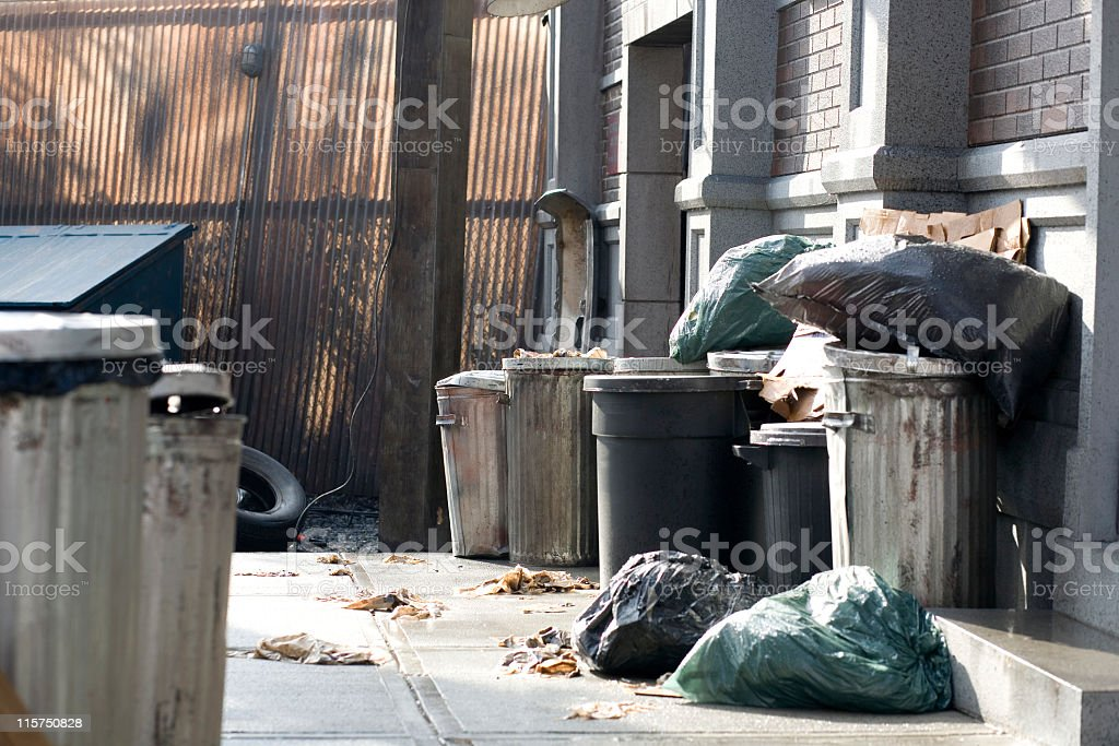 Morning light on back alley with garbage bags and cans. royalty-free stock photo