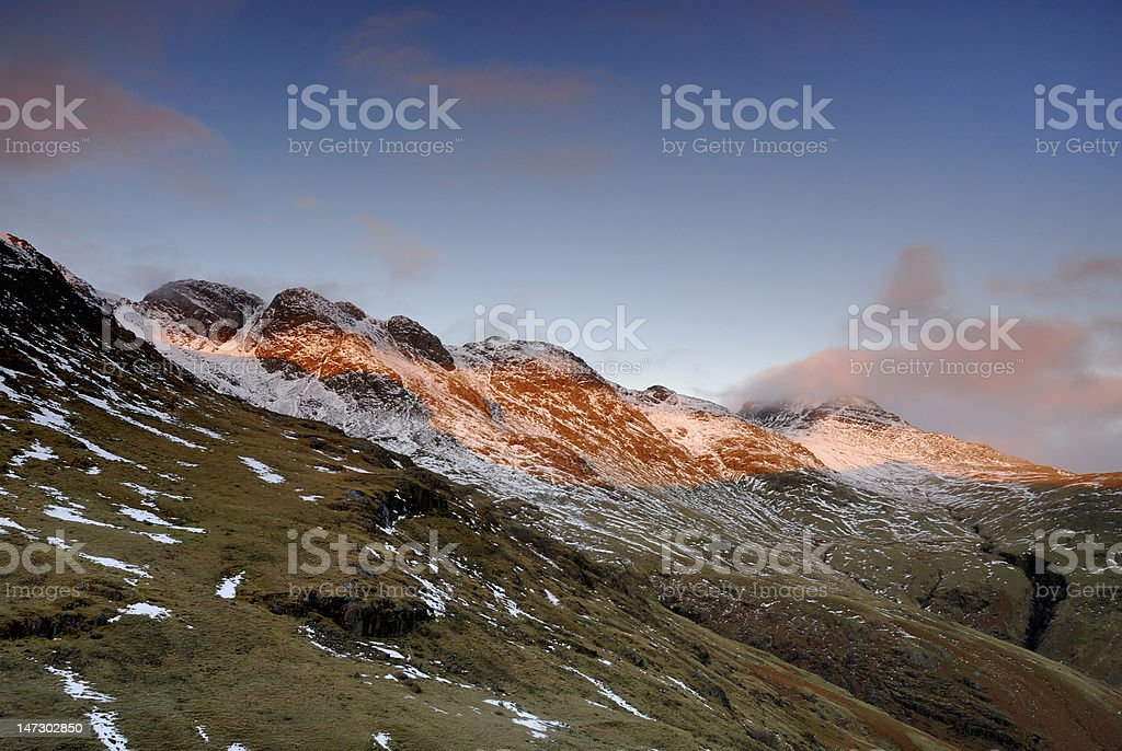Morning light on Crinkle Crags, English Lake District stock photo