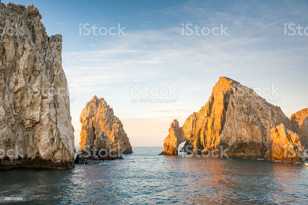 Morning light on El Arco, Arch of Cabo San Lucas stock photo