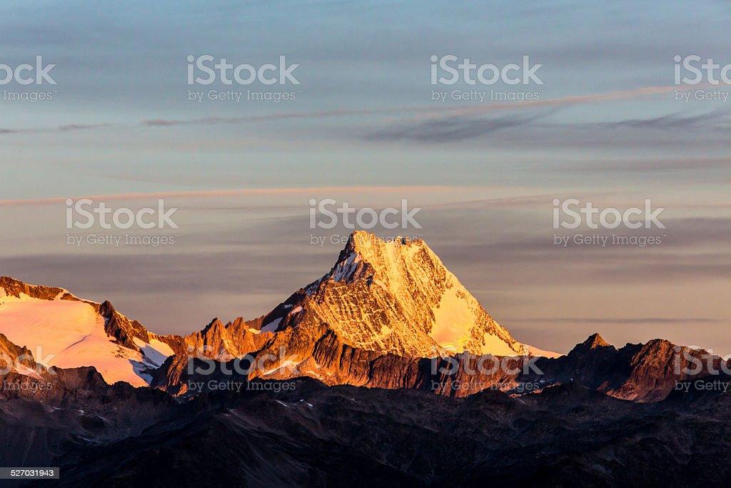 Morning light on Lauteraarhorn Swiss stock photo