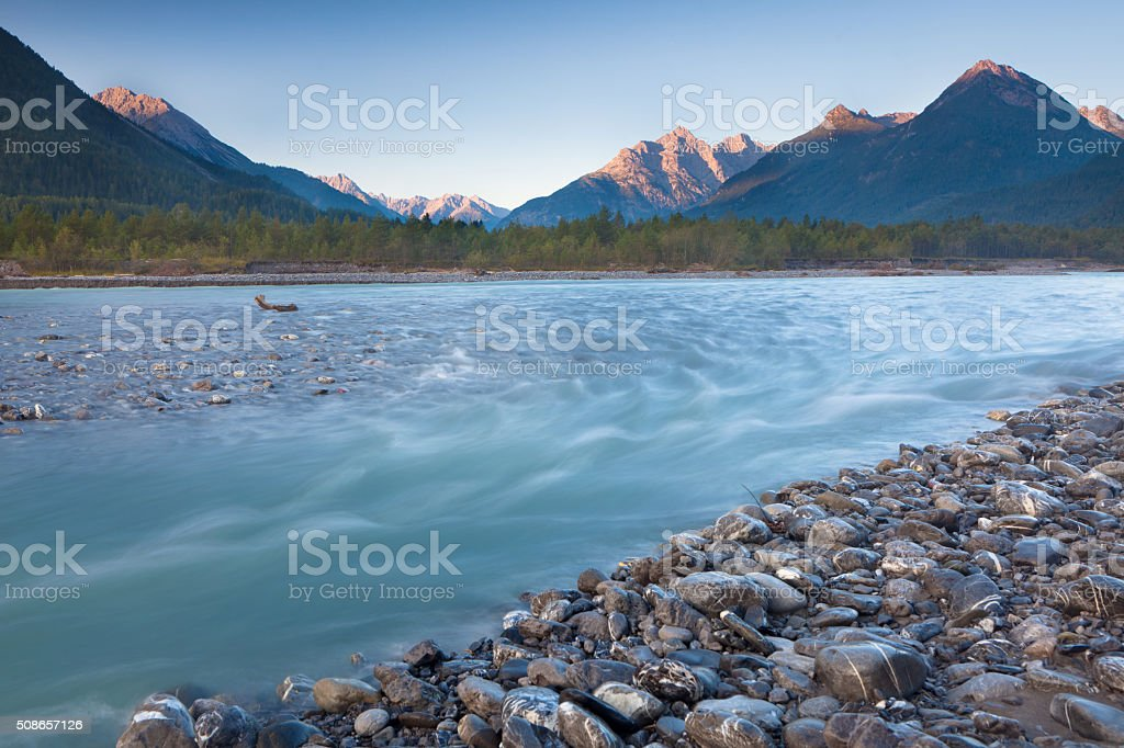morning light on the lechtaler alps, lech river, tirol, austria stock photo