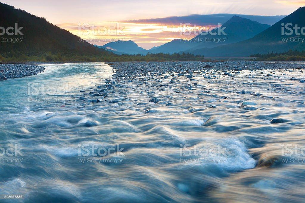 morning light on the lechtaler alps, lech river, tirol, austria stock photo