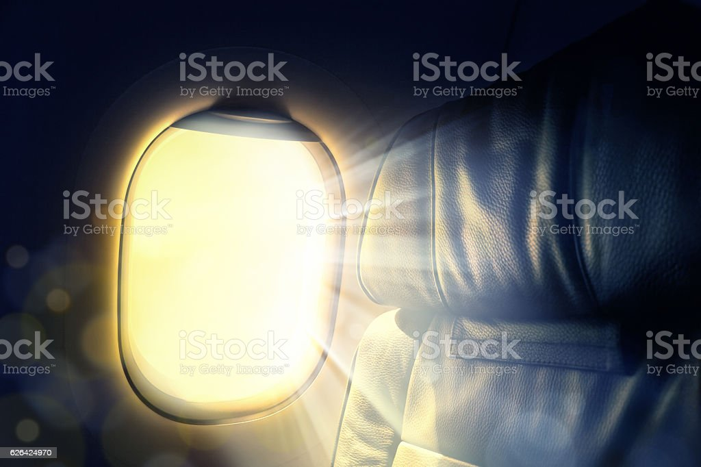 morning lights from airplane window stock photo
