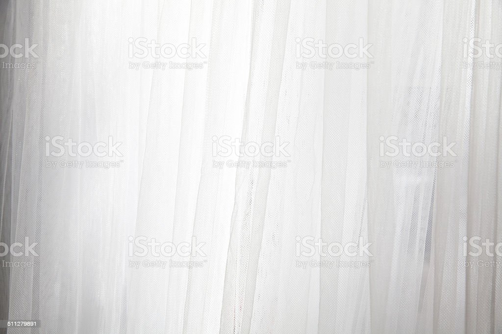 Morning lights with lace curtain stock photo