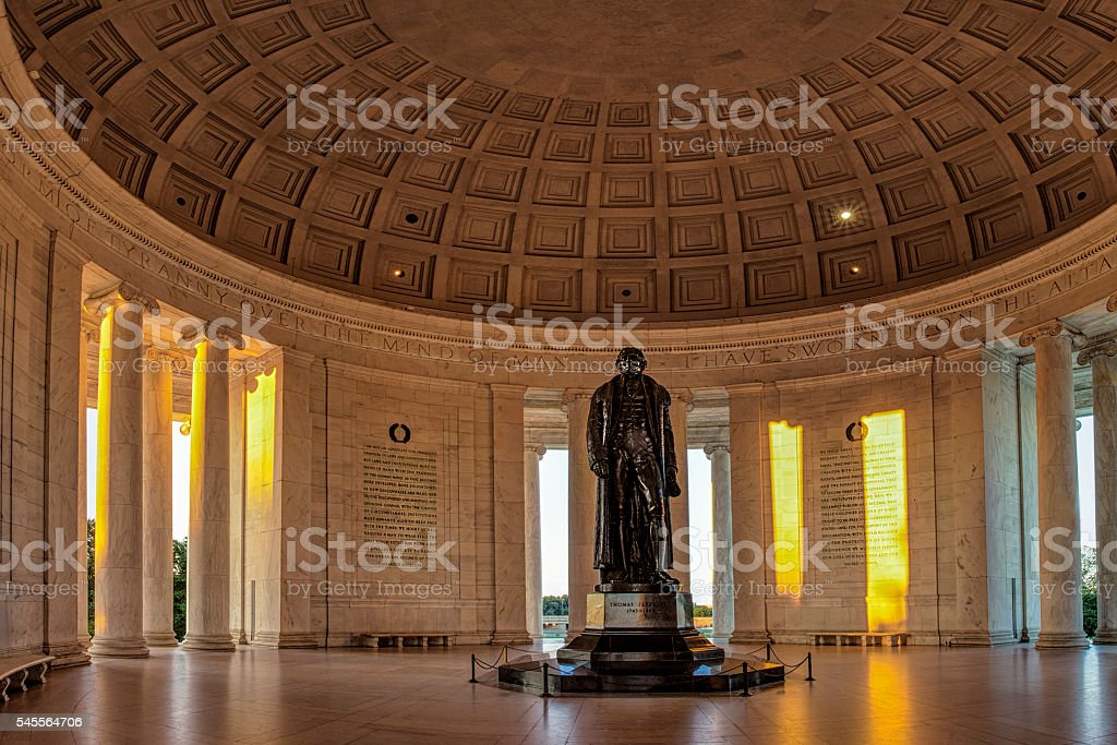 Morning llight in the Jefferson Memorial stock photo