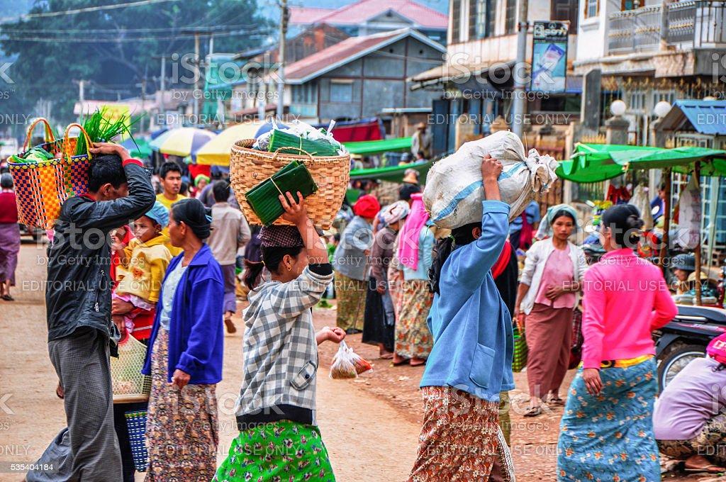 Morning market at Pindaya, Myanmar stock photo