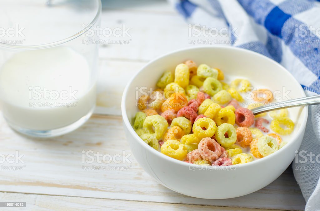 Morning meal, Colorful cereal with milk stock photo