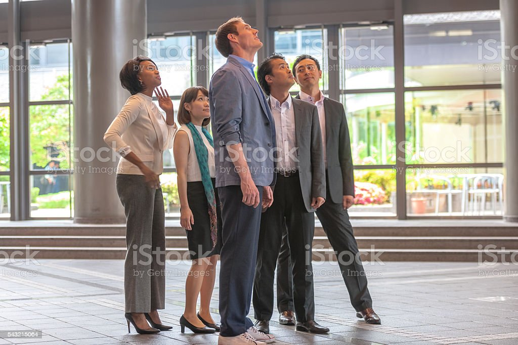 Morning meeting with managers in the administrative hall,Kyoto,Japan stock photo