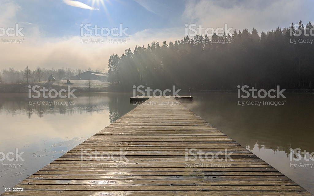 Morning mist at the lake Eging stock photo