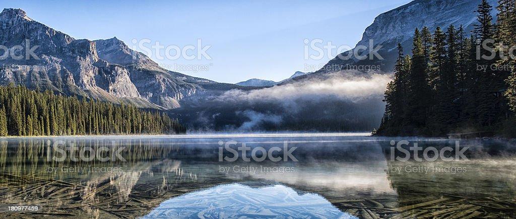 Morning Mist, Emerald Lake stock photo