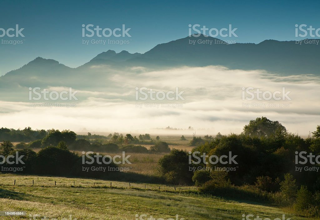 Morning Mist in Bavarian Alps Landscape at Dawn stock photo